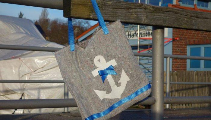 Handtasche Umzugsdecke blau Anker