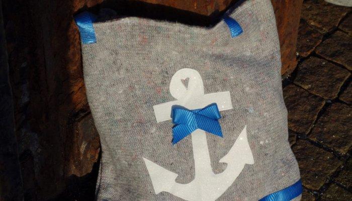 Handtasche Umzugsdecke blau Anker groß