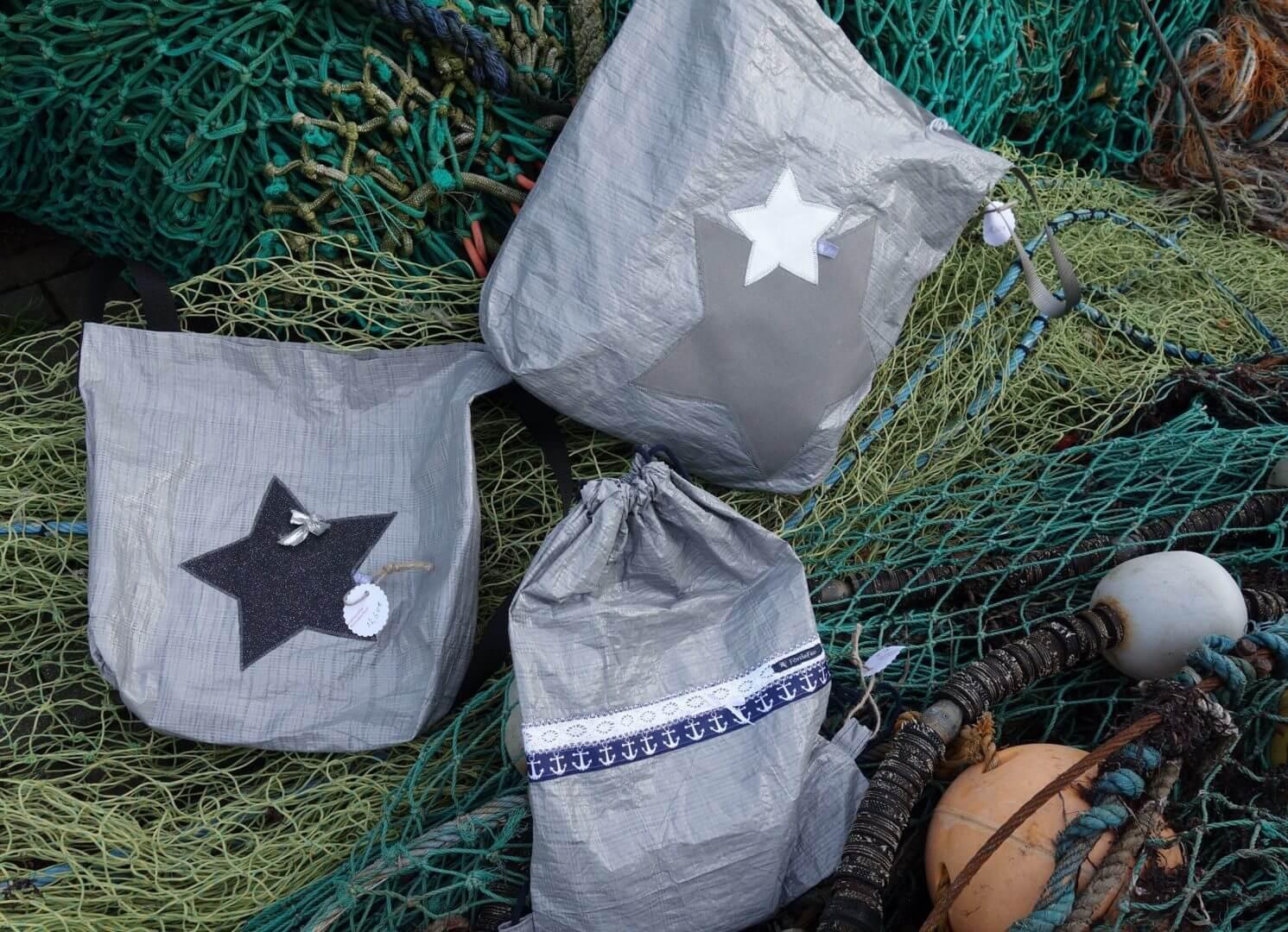 Upcycling - Tasche aus Abdeckplane Sterne Netz, IKEA Deluxe