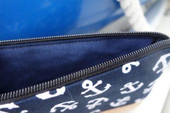Federmaeppchen Anker dunkelblau Innenfutter