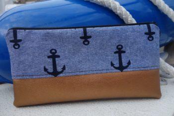 Federmaeppchen Anker grau-blau