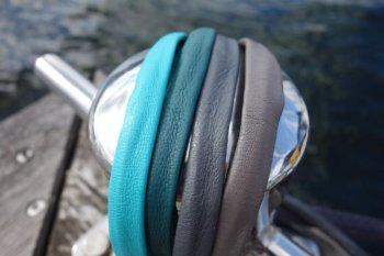 Lederarmband blau-grau