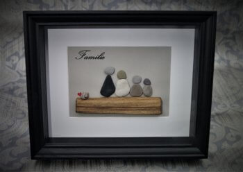 Steinbild Familie schwarz